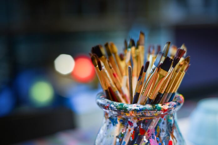 Set of paintbrushes. For a post about creativity tips for the COVID-19 times