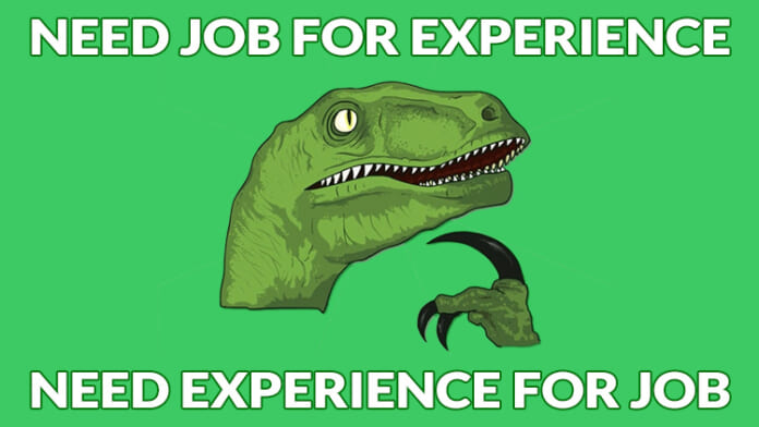 meme about needing experience, for a post on how to get your first publication